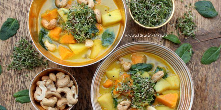 Süßkartoffel-Spinat-Suppe mit Apfel