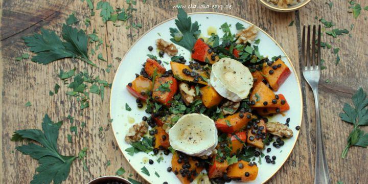 Kürbis-Linsen-Salat mit Ziegenkäse