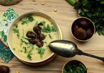 Feine Sellerie-Apfel-Suppe mit Maronen-Topping