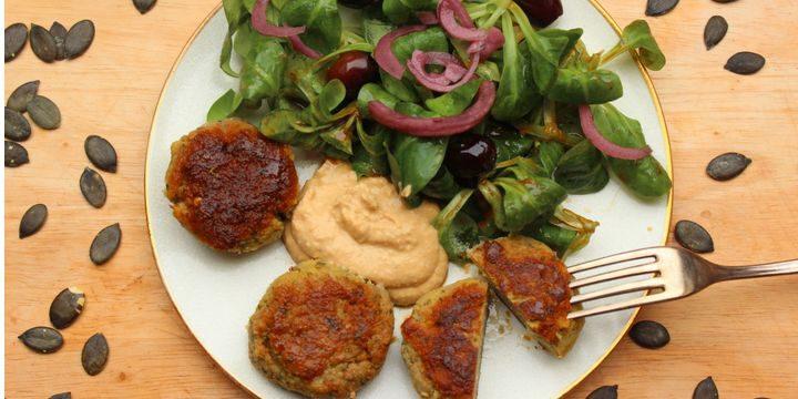 Falafel mit Hummus und Feldsalat