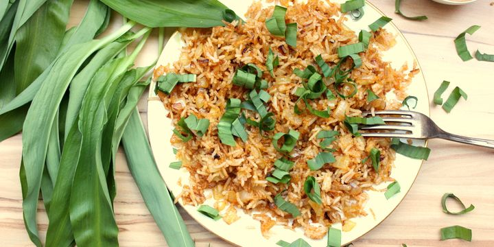 Zwiebel-Reis mit Bärlauch