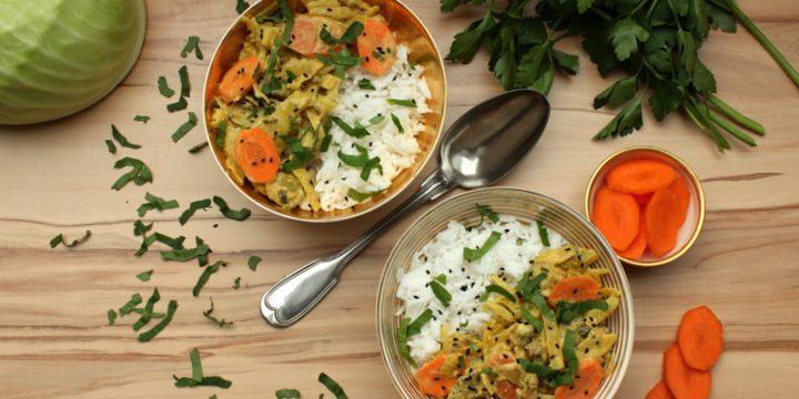 Ein Teller voll regionalem Genuss: Weißkohl und Karotten